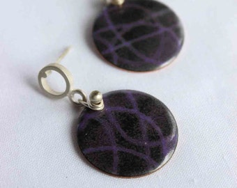 Strand earrings, Violet, Purple and Black  Enamels made of Sterling silver and copper