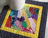 Navy Blue and Yellow Coaster, Mug Rug or Mini Quilt
