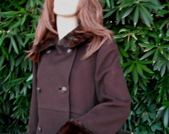 Vintage Loual Double Breasted Coat with Fur Collar and Cuffs, Classic Rich Brown Wool Coat w/Chestnut Mink Collar
