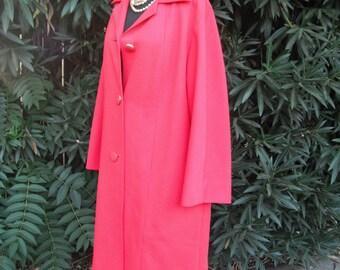 1970s Coat, Red Orange Knit Dress Coat // Orange Knit Coat