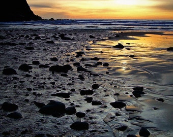 Sunset Seashore Oregon Coast Fine Art Photography Moody Greeting Card HAUNTED BY WATERS by Spinning Castle