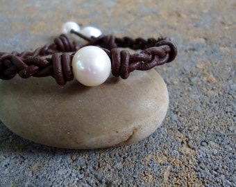 Braided  Leather  Pearl  Bracelet