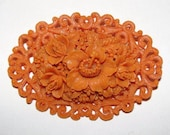 Celluloid Faux Carved Red Coral Floral Motif Pin Brooch