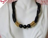 Sale Vintage Art Deco Necklace, Statement Necklace, Black and Gold Necklace
