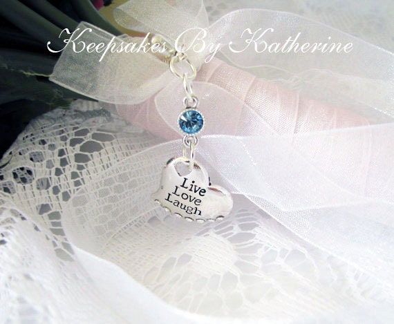 Live Love Laugh Bridal Bouquet Charm, Brides Good Luck Charm, Something Blue