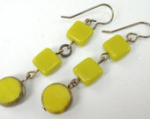 Yellow Green dangle earrings, Brass Ear Wires, lime green
