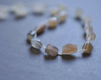 Shades of moonstone crocheted beaded gemstone necklace from dusky to peach