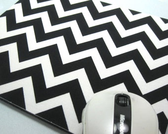 Buy 2 FREE SHIPPING Special!!   Mouse Pad, MousePad, Fabric MousePad   Black & White Chevron