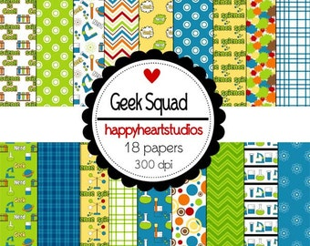 Digital Scrapbook GeekSquad-INSTANT DOWNLOAD