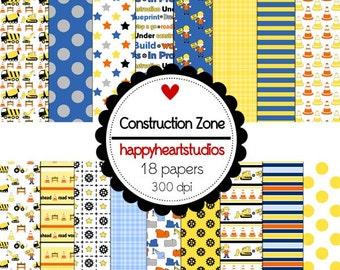 Digital Scrapbook Construction Zone-INSTANT DOWNLOAD