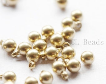 50pcs Raw Brass Drops - Round 6x4mm (504C-S-226)