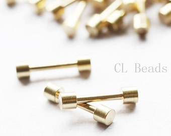 60pcs Raw Brass Bar For Braid Jewellry - Friendship braid bracelet - 13.2x3x2.5mm (506C-I-310)