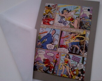 Wonder Woman Greeting Card - Blank Card - Comic Strip Card - Greeting Card - Paper Goods - Stationery - Cartoon - Home and Living - Female