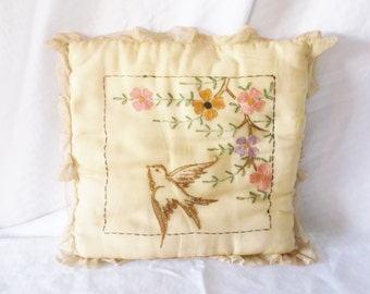 Clearance 1920's Vintage Yellow Boudoir Pillow With Bird and Flowers