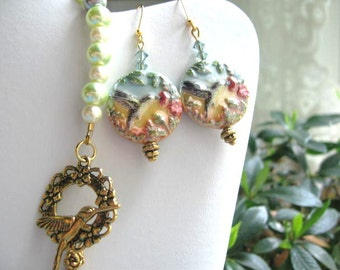 Flight of the Hummingbirds Too ... hand painted porcelain earrings  ... #382