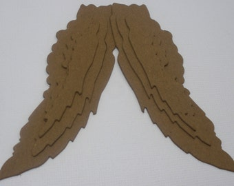 TATTERED ANGEL WINGS -  Vintage Raw Bare Unfinished Chipboard Die Cut