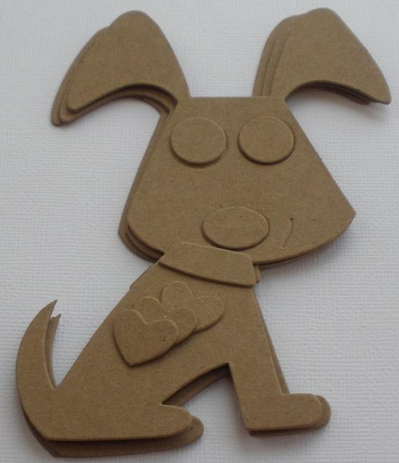 Puppy dog chipboard die cuts animal craft shapes