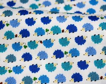 Hedgehog Print Japanese fabric blue Fat Quarter (n341)