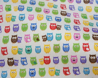 Tiny owl print half meter 50 cm by 106 cm or 19.6 by 42 inches nc35