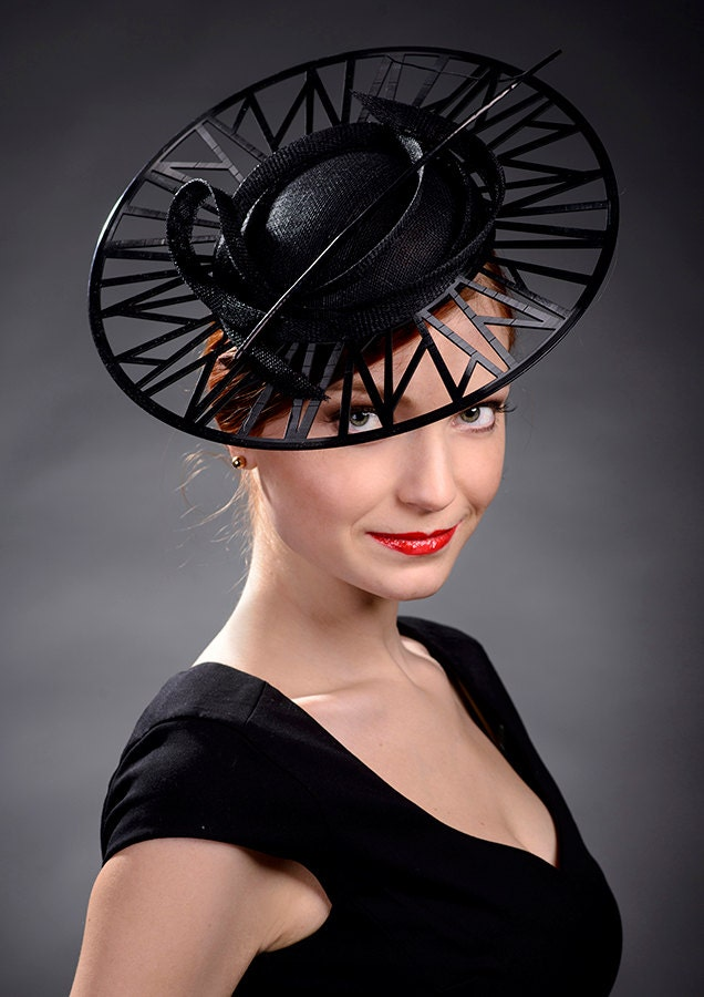 Black designer hat high fashion hat haute couture hat for High couture