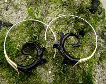 Fake Gauge Earrings - NEW Horn Tribal Hand Made Fake Piercings Organic