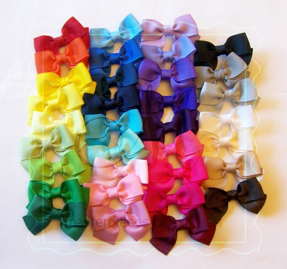 Classic Style Small Bow Hair Clips Set - You Pick 4 Basic Bow Hair Clips - Solid Colors - Hairbows - Clippies - every day hair clips