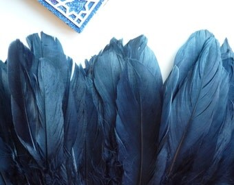 GOOSE FEATHER Fringe/  Dark Denim, Navy Blue / 820