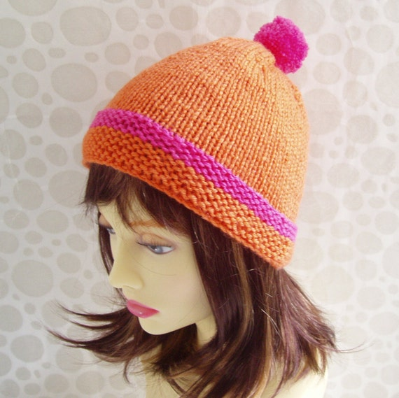 Knitting Pattern Simple Beanie : KNITTING PATTERN/ KYLIE Simple Beanie Hat with Pompom by artesana