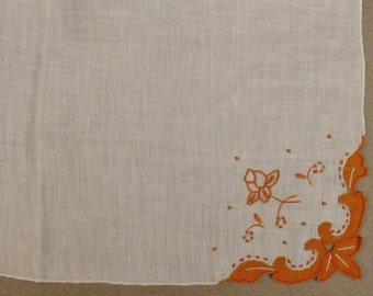 Vintage MADEIRA WEDDING HANKIE Linen Hand Embroidered 12 1/4 x12 1/4 Mint condition