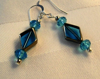 Sterling Silver with Brilliant Aqua Glass Dangle Earrings