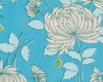 Amy Butler Belle 2013 fabric - Chrysanthemum in Blue - 1/2 Yard