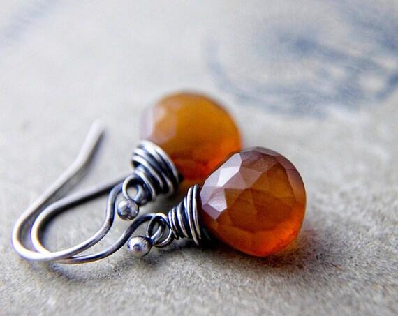Pumpkin Drop Earrings Silver Orange Dangle PoleStar Rust Orange Rustic