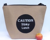 Insulated Large Lunch Bag Man Lunch Bag Brown Work lunch Bag Caution Stinky Lunch by BonTons