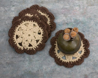 Beige and Brown Cotton Coasters, Set of Four  Hand Crocheted Coasters, Boho Home Decor