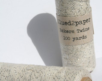 Silver and Cream Bakers Twine - Silver Bakers Twine - Scrapbooking Twine - Craft Supplies - 100 yards of 4 Ply Twine
