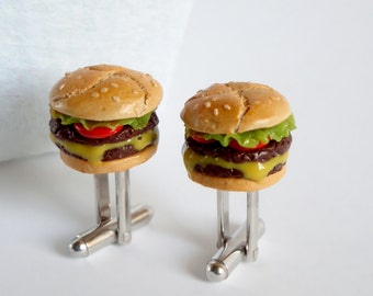 Double Patty Burger with Melted Cheese Cufflinks - Miniature Food Art Jewelry - Schickie Mickie Original 100% handmade