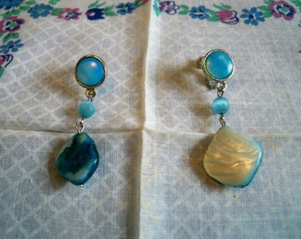 Vintage 1960s Abalone Blue Blister Pearl Dangling Earrings Screw Clip Back