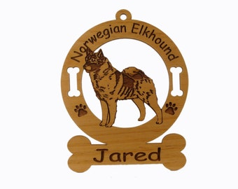 3611 Norwegian Elkhound Standing Personalized Dog Ornament
