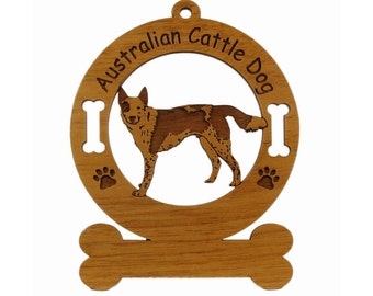 1302 Australian Cattle Dog Standing Personalized Wood Ornament