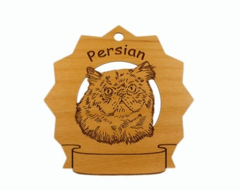 7287 Persian Cat Head Personalized Wood Ornament