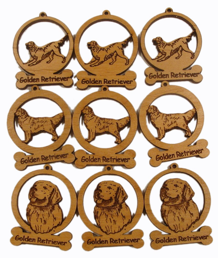 9 Mini Golden Retriever Dog Ornaments