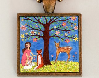 Woodland Animals Necklace Handmade Jewelry