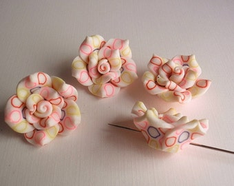 4 Polymer Clay Beads, Jewelry Supply, Handmade Roses, White / Multi Colored circles
