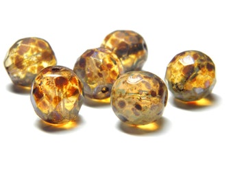 Sale! - 15pcs Czech Glass12mm Champagne with Picasso Faceted Round Glass Beads