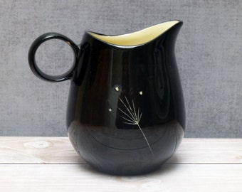Mid Century Vernonware, Imperial Creamer, Glossy Black White Flowers, Show Stopper