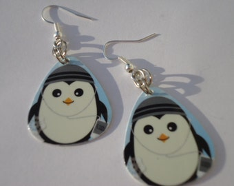 Upcycled Cute Little Peguin Guitar Pick Earrings