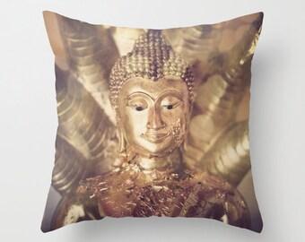 Buddha Pillow Case, Decorative Throw Pillow Cover - Golden Buddha, Bronze Tones, Naga