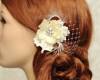 Ivory Bridal Hair Accessories, Feather Flower Hair Clip, birdcage netting headpiece, wedding hair flower