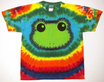 Tie Dye Tshirt, Rainbow Tree Frog Tie Dye Shirt, Youth Large
