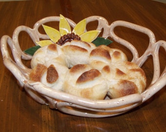Beige ceramic bread basket with sunflower design-pottery home decor-fruit bowl-bread warmer